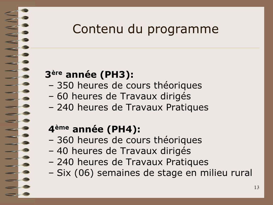 13 3 ère année (PH3): –350 heures de cours théoriques –60 heures de Travaux dirigés –240 heures de Travaux Pratiques 4 ème année (PH4): –360 heures de