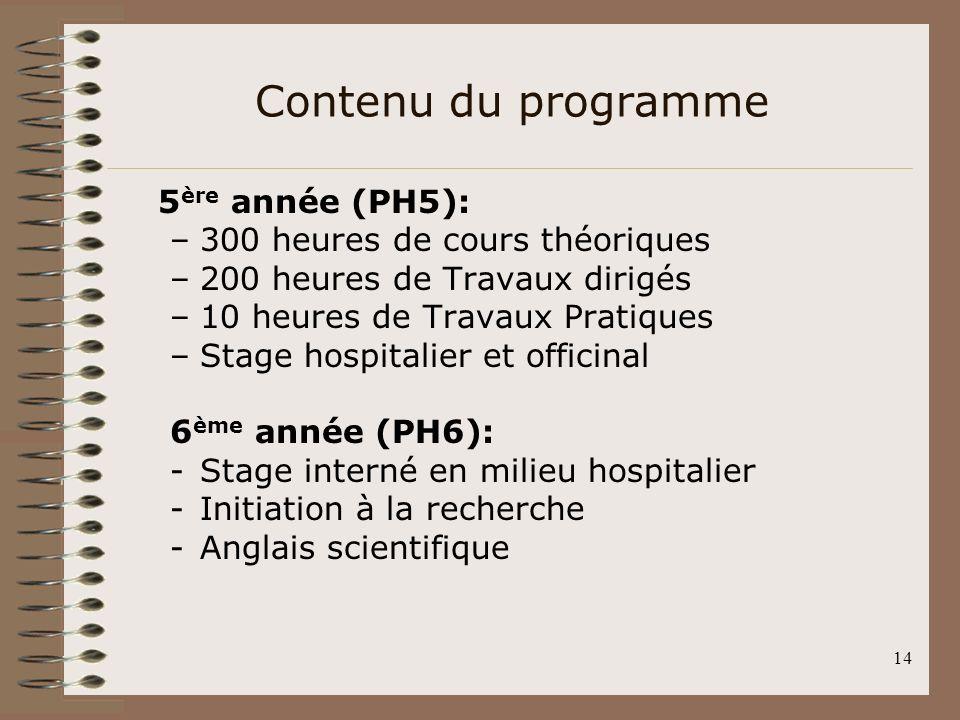 14 5 ère année (PH5): –300 heures de cours théoriques –200 heures de Travaux dirigés –10 heures de Travaux Pratiques –Stage hospitalier et officinal 6