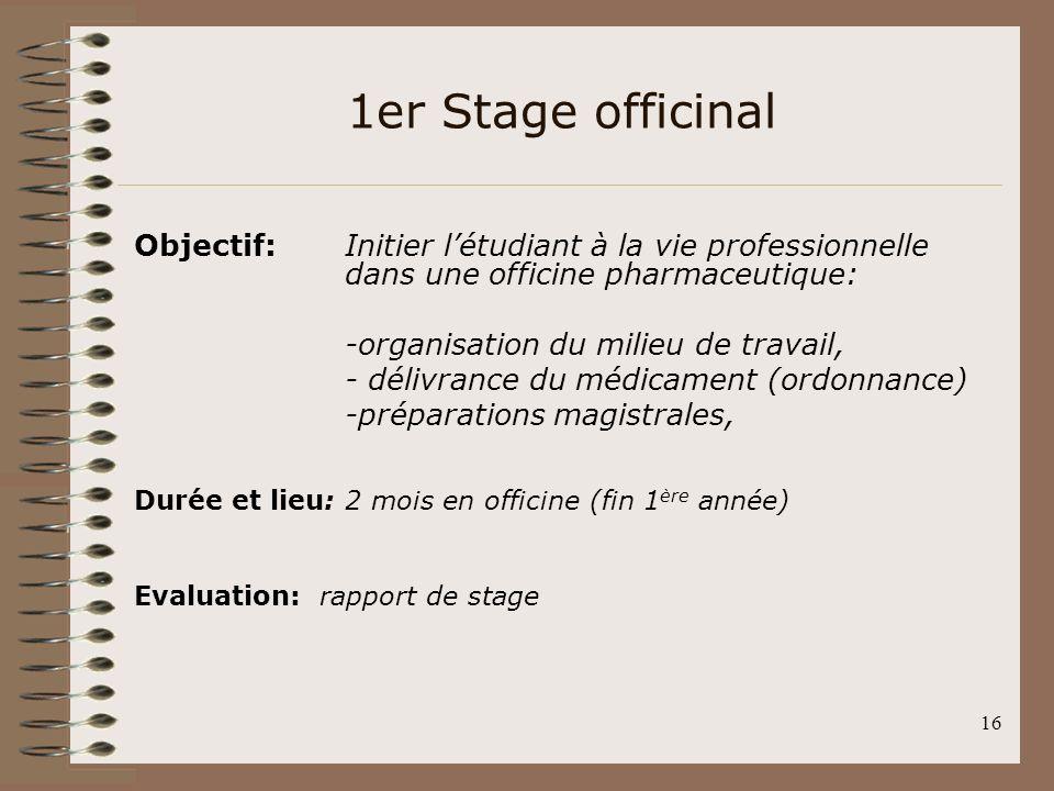 16 1er Stage officinal Objectif: Initier létudiant à la vie professionnelle dans une officine pharmaceutique: -organisation du milieu de travail, - dé