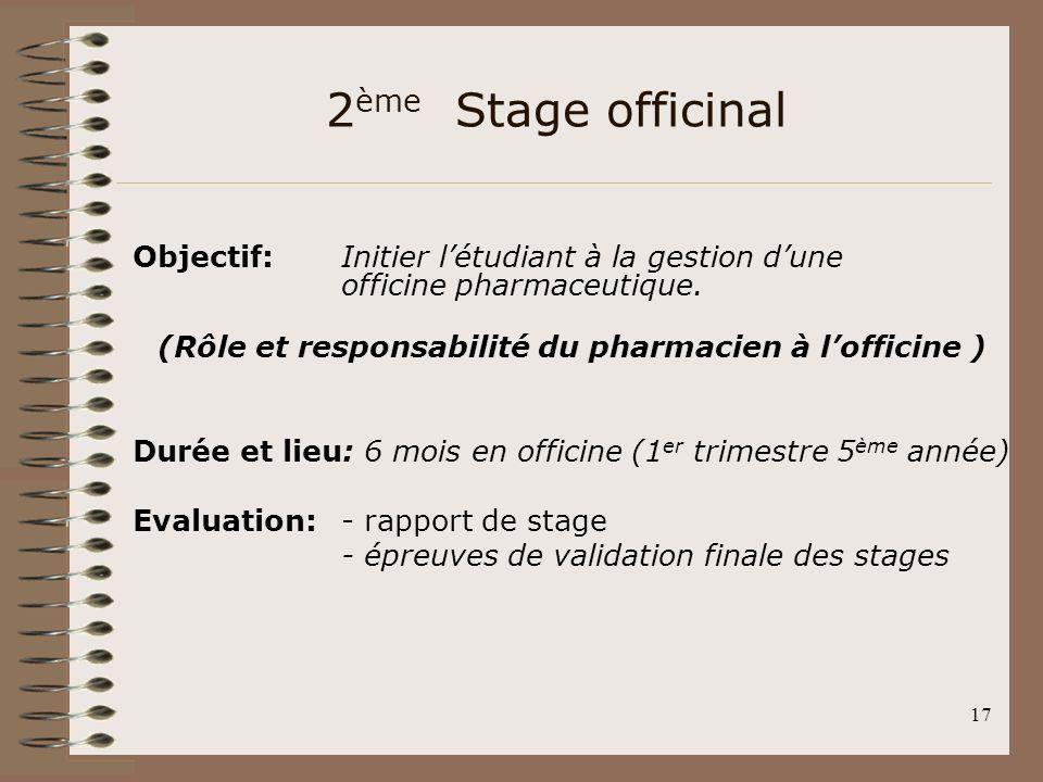 17 2 ème Stage officinal Objectif: Initier létudiant à la gestion dune officine pharmaceutique. (Rôle et responsabilité du pharmacien à lofficine ) Du