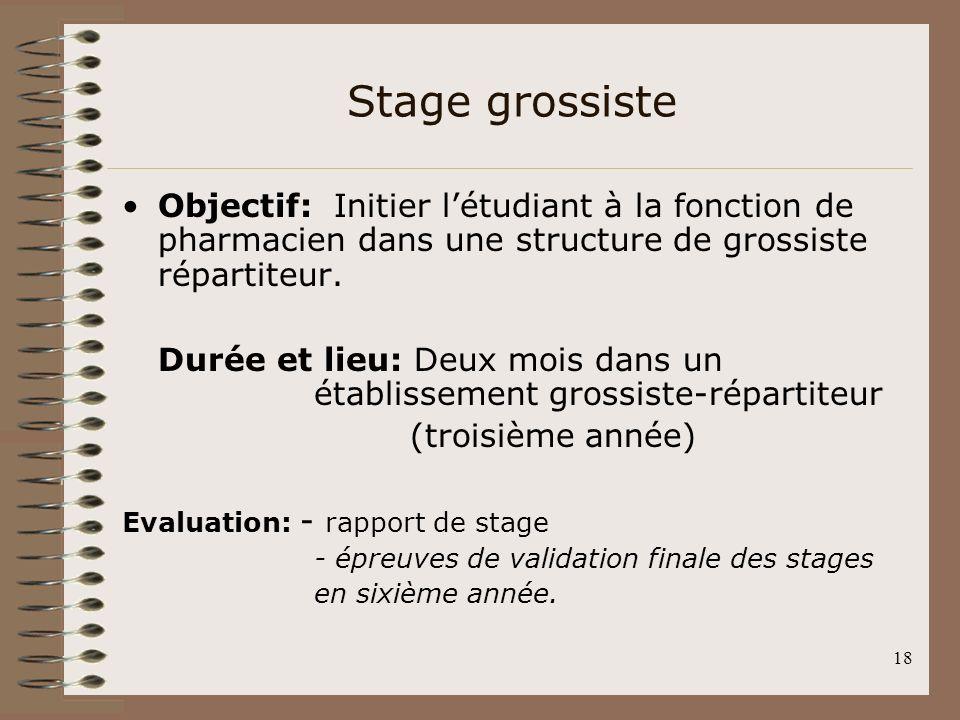 18 Stage grossiste Objectif: Initier létudiant à la fonction de pharmacien dans une structure de grossiste répartiteur. Durée et lieu: Deux mois dans