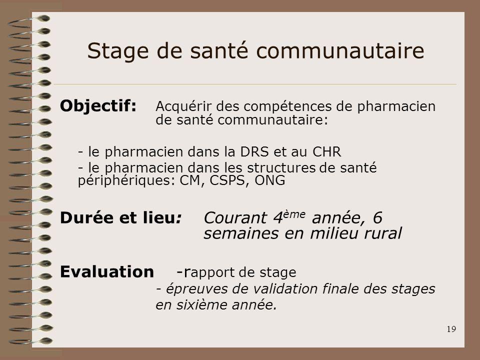 19 Stage de santé communautaire Objectif: Acquérir des compétences de pharmacien de santé communautaire: - le pharmacien dans la DRS et au CHR - le ph