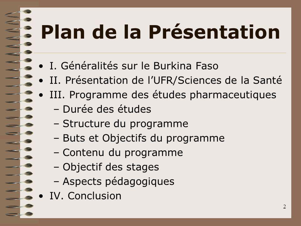 2 Plan de la Présentation I. Généralités sur le Burkina Faso II. Présentation de lUFR/Sciences de la Santé III. Programme des études pharmaceutiques –