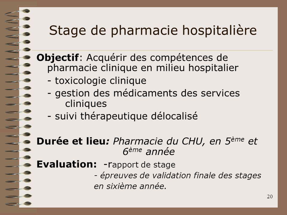 20 Stage de pharmacie hospitalière Objectif: Acquérir des compétences de pharmacie clinique en milieu hospitalier - toxicologie clinique - gestion des