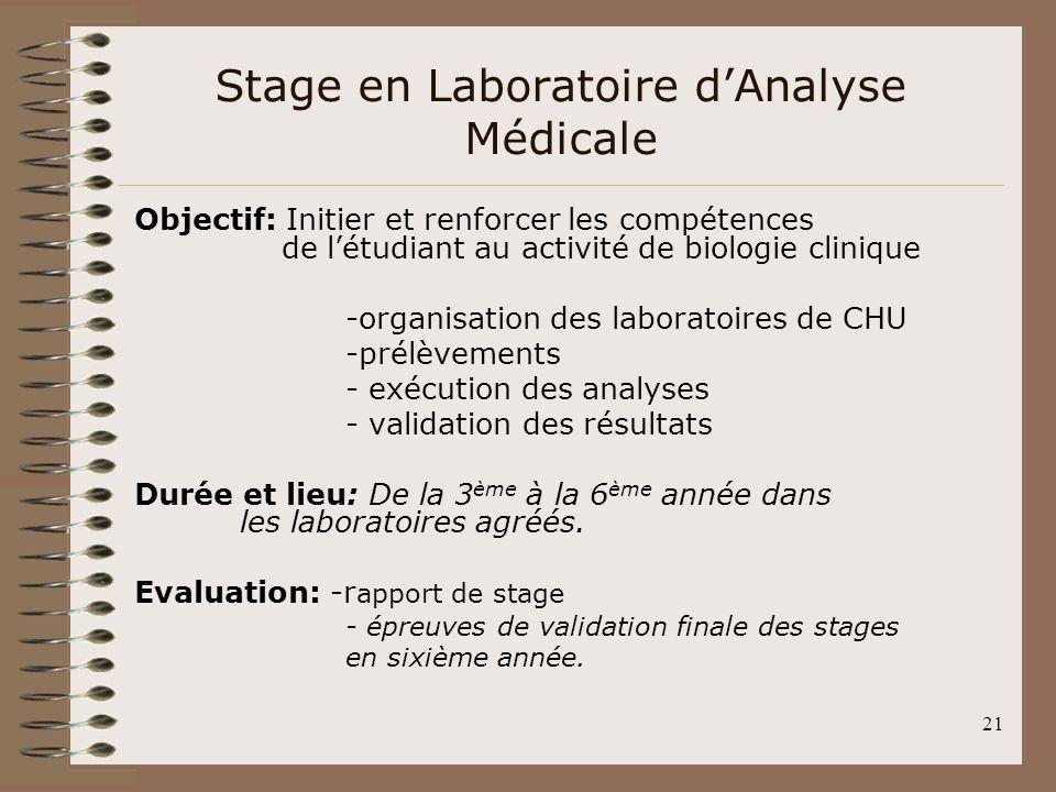 21 Stage en Laboratoire dAnalyse Médicale Objectif: Initier et renforcer les compétences de létudiant au activité de biologie clinique -organisation d
