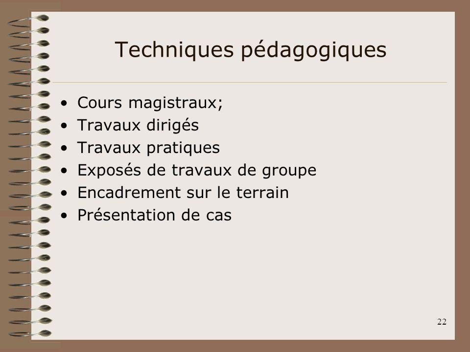 22 Techniques pédagogiques Cours magistraux; Travaux dirigés Travaux pratiques Exposés de travaux de groupe Encadrement sur le terrain Présentation de