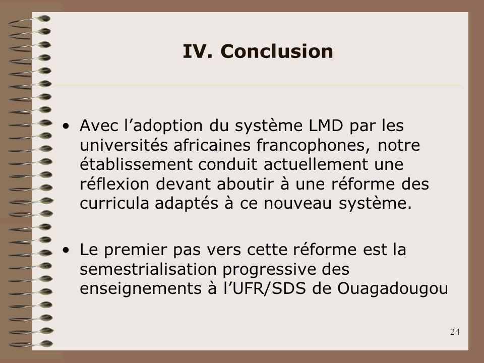 24 IV. Conclusion Avec ladoption du système LMD par les universités africaines francophones, notre établissement conduit actuellement une réflexion de