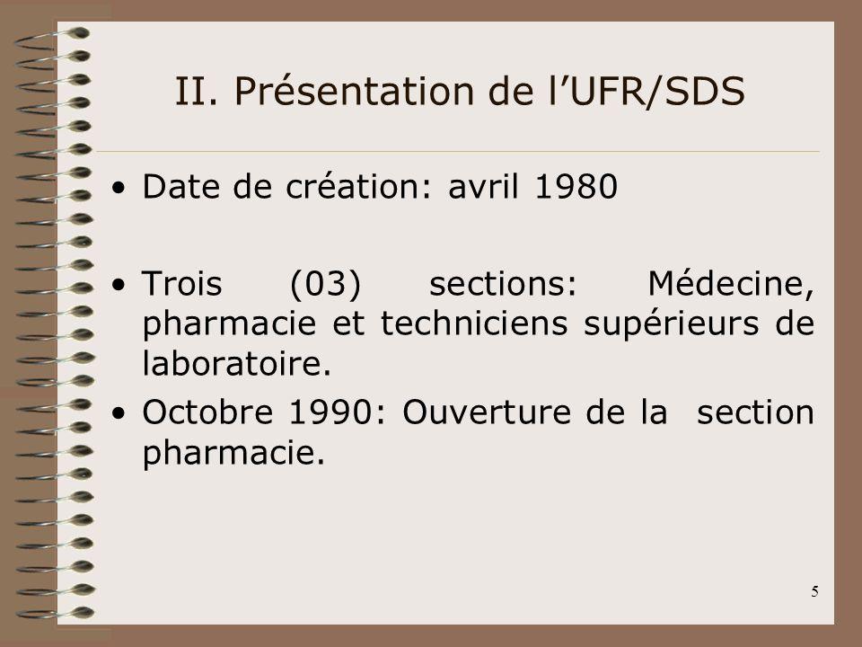 5 Date de création: avril 1980 Trois (03) sections: Médecine, pharmacie et techniciens supérieurs de laboratoire. Octobre 1990: Ouverture de la sectio