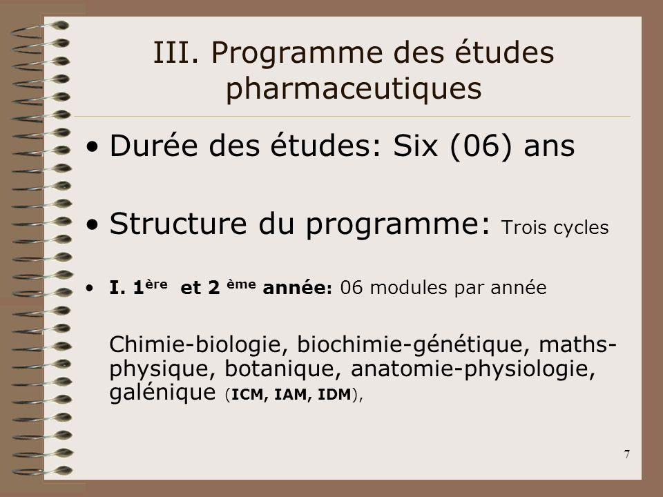 7 III. Programme des études pharmaceutiques Durée des études: Six (06) ans Structure du programme: Trois cycles I. 1 ère et 2 ème année : 06 modules p