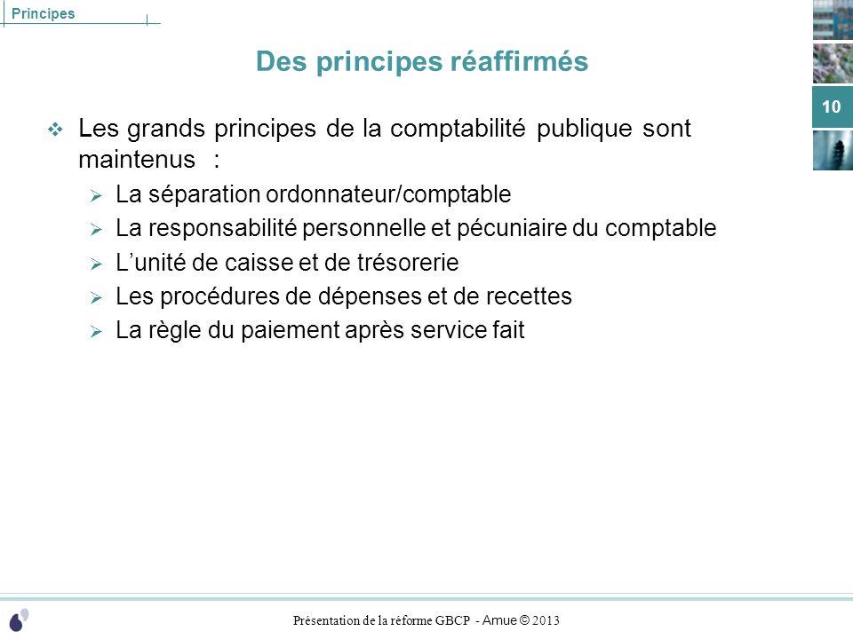 Présentation de la réforme GBCP - Amue © 2013 Principes Des principes réaffirmés Les grands principes de la comptabilité publique sont maintenus : La