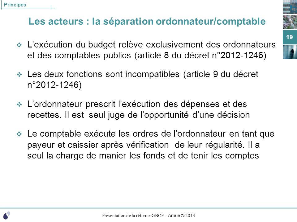 Présentation de la réforme GBCP - Amue © 2013 Principes Les acteurs : la séparation ordonnateur/comptable Lexécution du budget relève exclusivement de