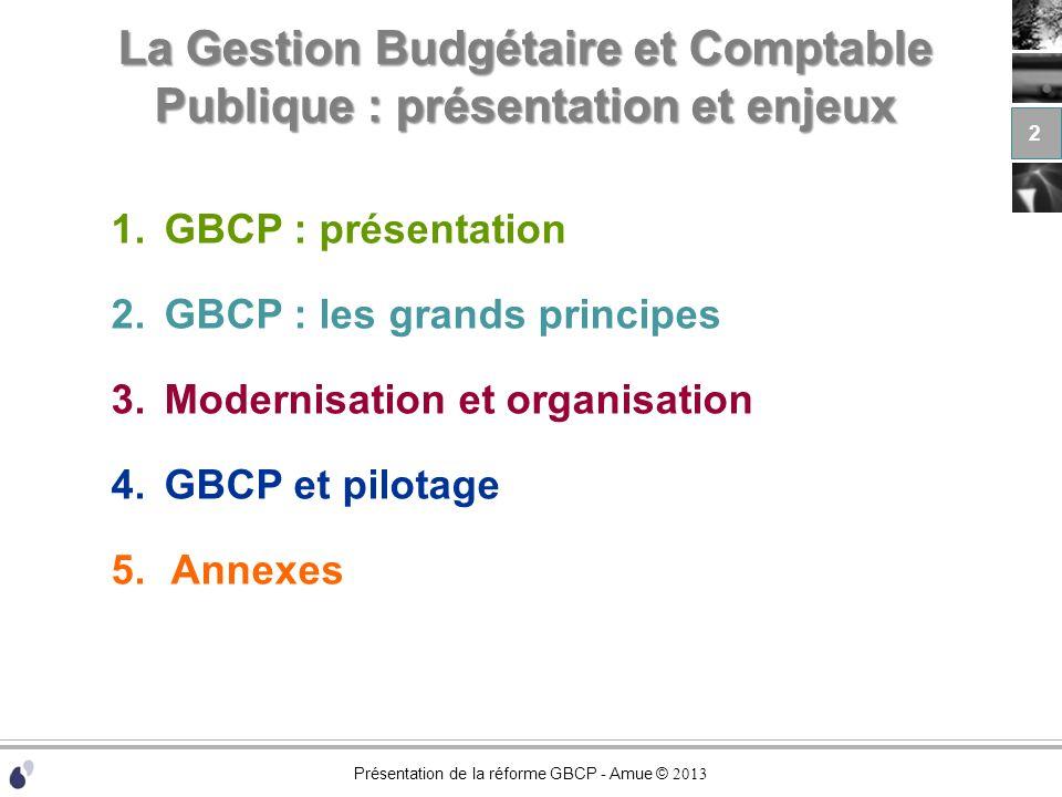 Présentation de la réforme GBCP - Amue © 2013 La Gestion Budgétaire et Comptable Publique : présentation et enjeux 1.GBCP : présentation 2.GBCP : les grands principes 3.Modernisation et organisation 4.GBCP et pilotage 5.Annexes 3