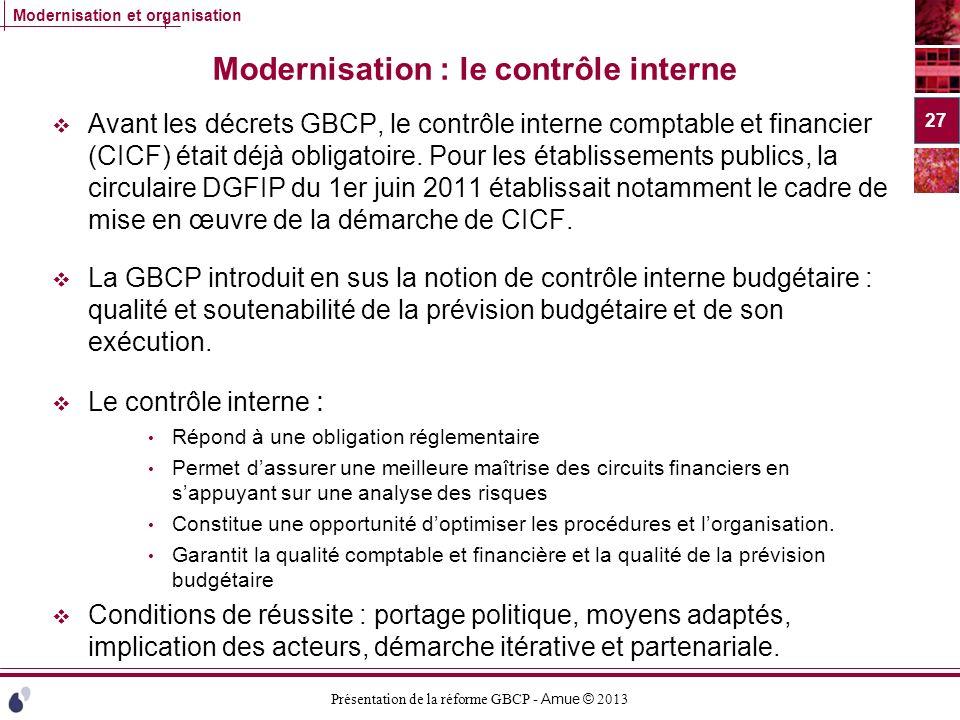Présentation de la réforme GBCP - Amue © 2013 Modernisation et organisation Modernisation : le contrôle interne Avant les décrets GBCP, le contrôle in