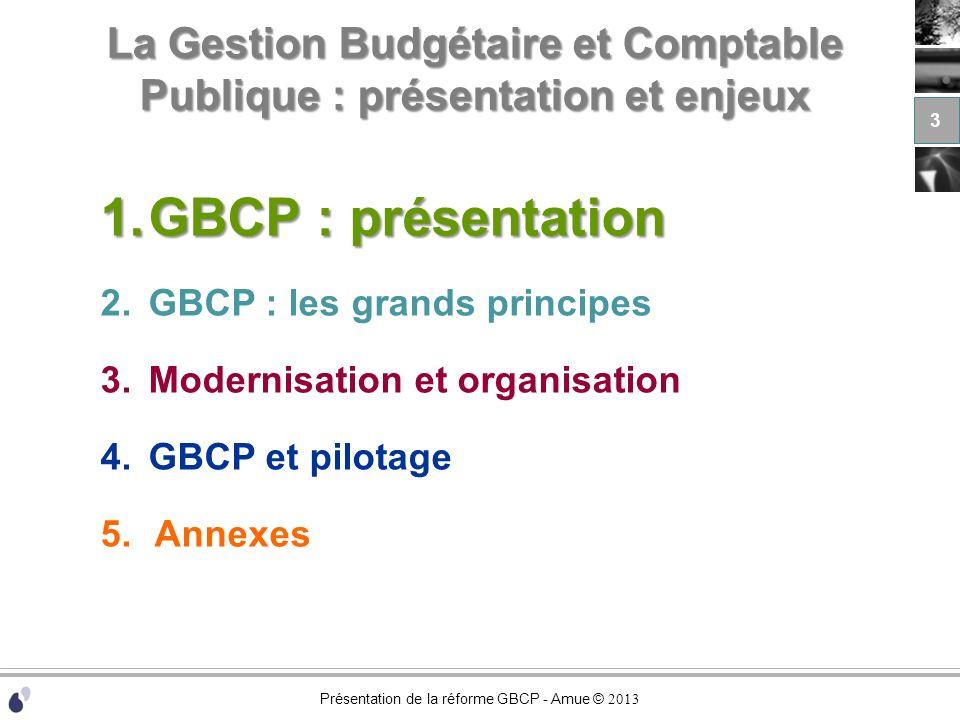 Présentation de la réforme GBCP - Amue © 2013 La réforme GBCP : présentation et enjeux 1.GBCP : présentation 2.GBCP : les grands principes 3.Modernisation et organisation 4.GBCP et pilotage 5.Annexes 34