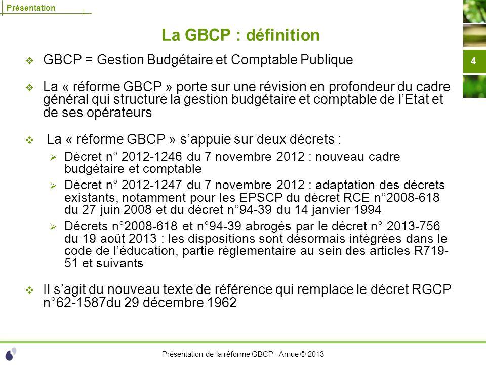 Présentation de la réforme GBCP - Amue © 2013 Présentation La GBCP : définition GBCP = Gestion Budgétaire et Comptable Publique La « réforme GBCP » po