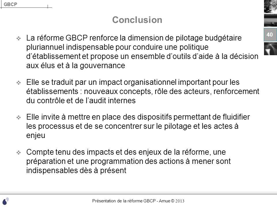 Présentation de la réforme GBCP - Amue © 2013 GBCP Conclusion La réforme GBCP renforce la dimension de pilotage budgétaire pluriannuel indispensable p