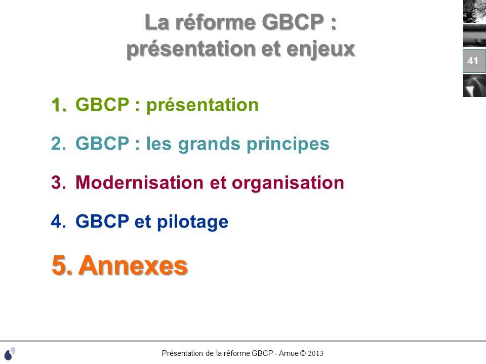Présentation de la réforme GBCP - Amue © 2013 La réforme GBCP : présentation et enjeux 1. 1.GBCP : présentation 2.GBCP : les grands principes 3.Modern