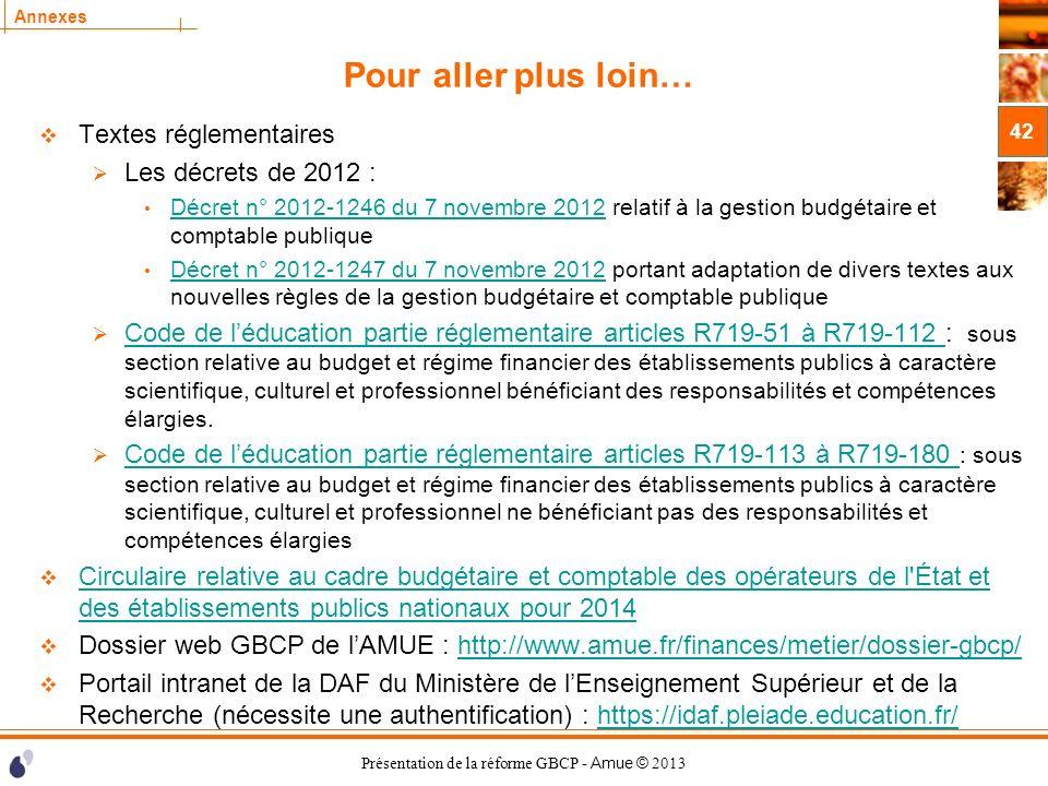 Présentation de la réforme GBCP - Amue © 2013 Annexes Pour aller plus loin… Textes réglementaires Les décrets de 2012 : Décret n° 2012-1246 du 7 novem