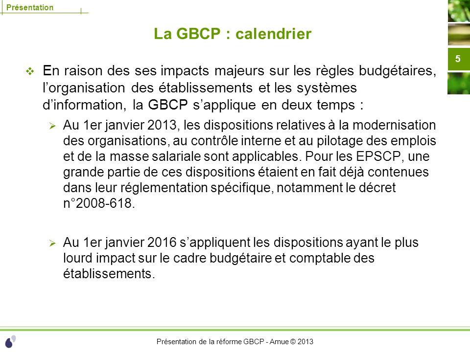 Présentation de la réforme GBCP - Amue © 2013 Présentation La GBCP : calendrier En raison des ses impacts majeurs sur les règles budgétaires, lorganis