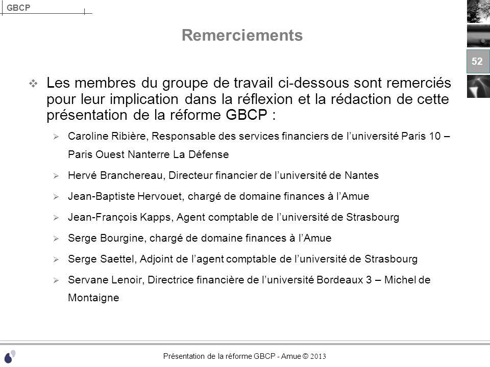 Présentation de la réforme GBCP - Amue © 2013 GBCP Remerciements Les membres du groupe de travail ci-dessous sont remerciés pour leur implication dans