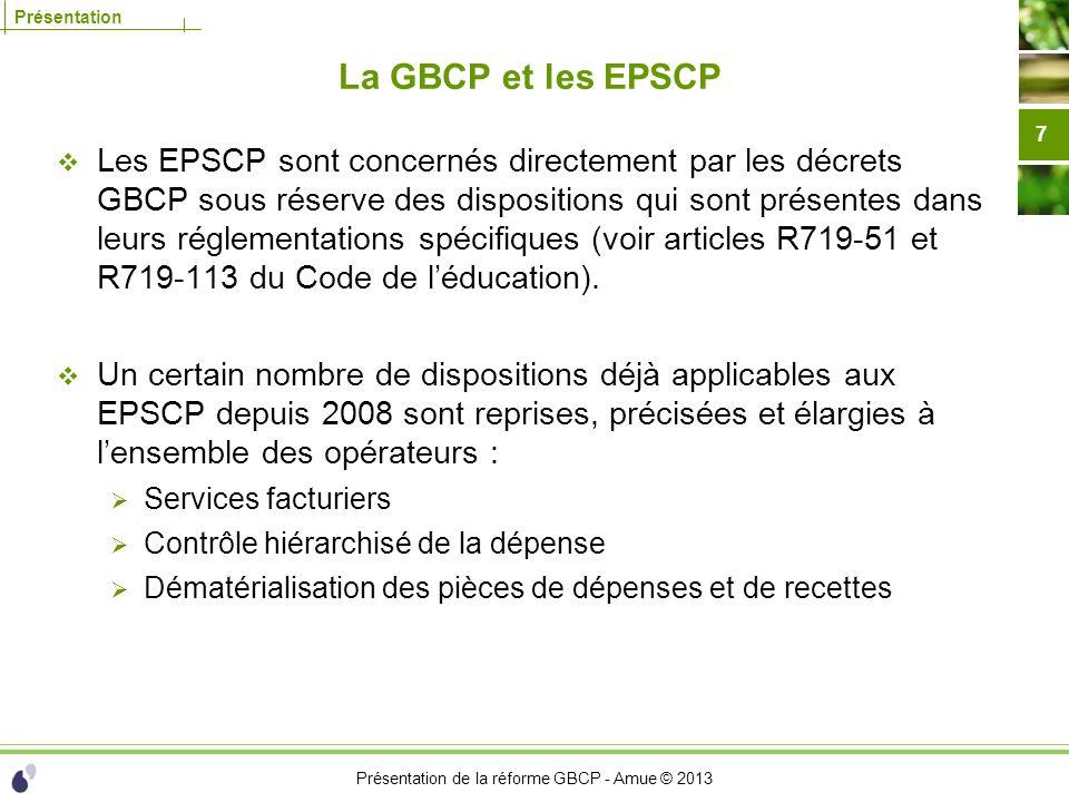Présentation de la réforme GBCP - Amue © 2013 Présentation La GBCP et les EPSCP Les EPSCP sont concernés directement par les décrets GBCP sous réserve