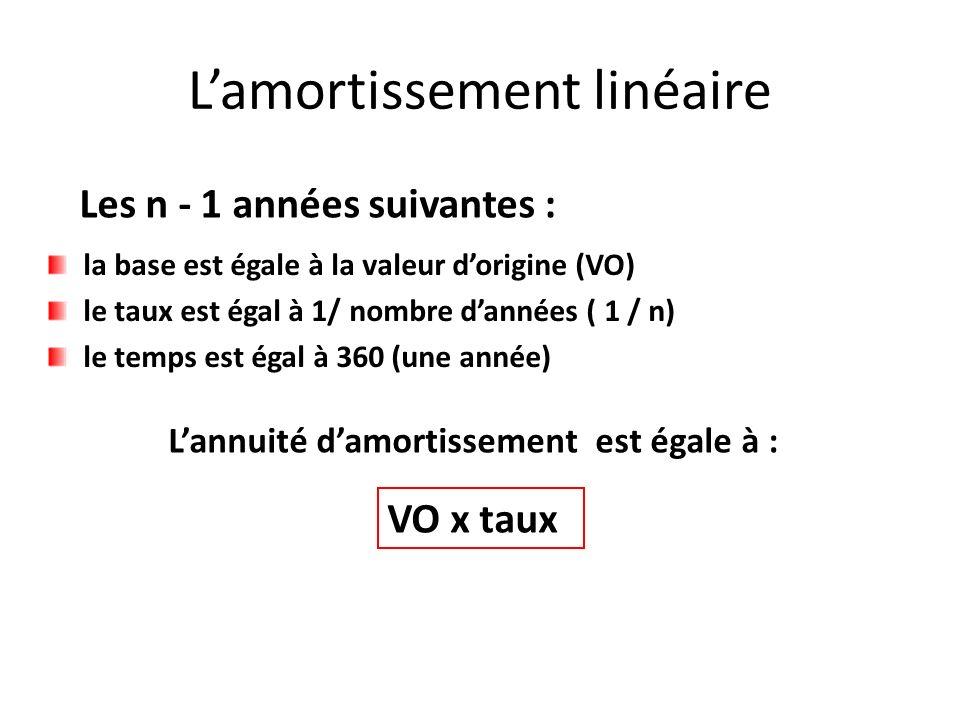Les n - 1 années suivantes : Lannuité damortissement est égale à : VO x taux la base est égale à la valeur dorigine (VO) le taux est égal à 1/ nombre