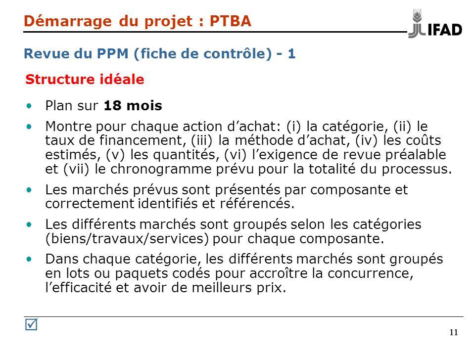 11 Structure idéale Plan sur 18 mois Montre pour chaque action dachat: (i) la catégorie, (ii) le taux de financement, (iii) la méthode dachat, (iv) le