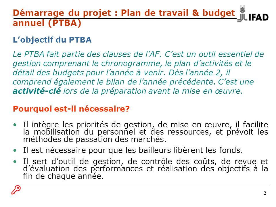 333 Démarrage du projet : PTBA Les procédures du PTBA Soumission à temps du projet de PTBA au FIDA (tel que prévu dans lAF), en même temps que le PPM 18 mois.