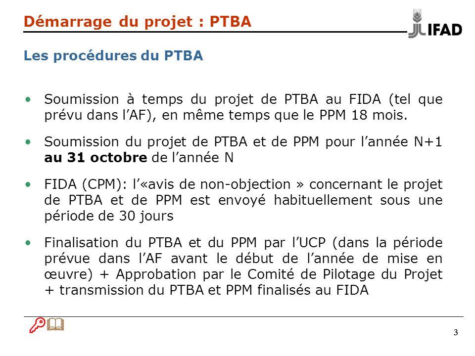 333 Démarrage du projet : PTBA Les procédures du PTBA Soumission à temps du projet de PTBA au FIDA (tel que prévu dans lAF), en même temps que le PPM