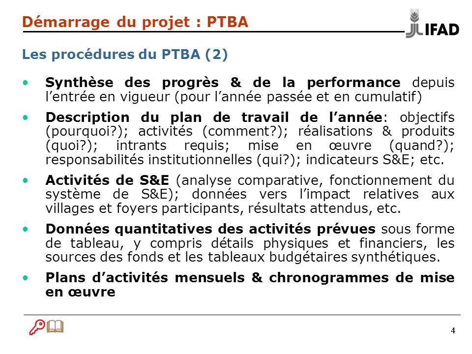 555 Démarrage du projet : PTBA Les éléments clefs du PTBA doit contenir plusieurs éléments-clés… 1.Lintroduction 2.Le plan dactivités et dutilisation des ressources 3.Le plan de passation des marchés 4.Le plan de formation & dassistance technique 5.Le budget & le plan de financement