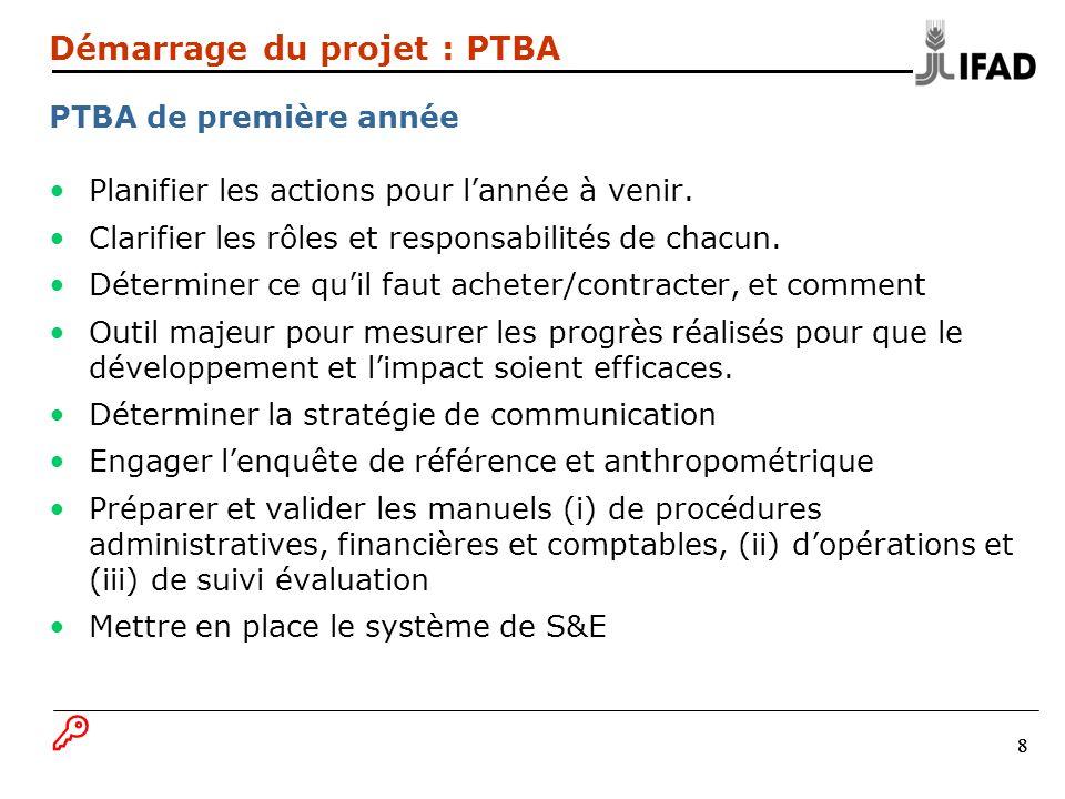 19 Consolidation des plans de développement du village/de la communauté, dans le PTBA du projet Plus: Eléments concernant lUCP et lagence dexécution (investissement + récurrent) Coûts des contrats des prestataires de services Autres éléments spécifiques du projet Démarrage du projet : PTBA Eléments habituels à partir de la seconde année