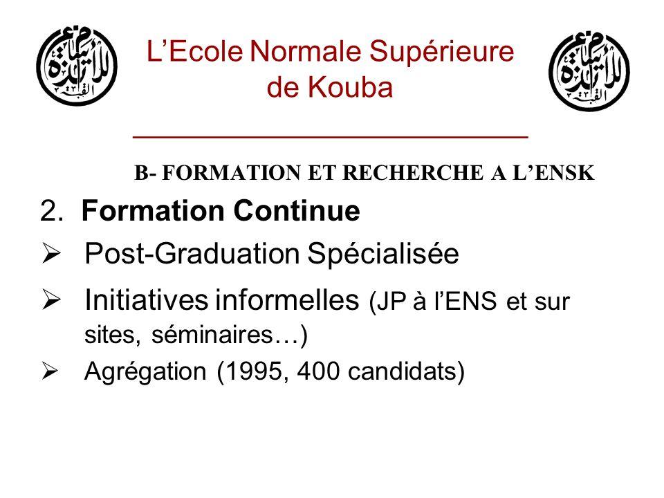 B- FORMATION ET RECHERCHE A LENSK 2. Formation Continue Post-Graduation Spécialisée Initiatives informelles (JP à lENS et sur sites, séminaires…) Agré