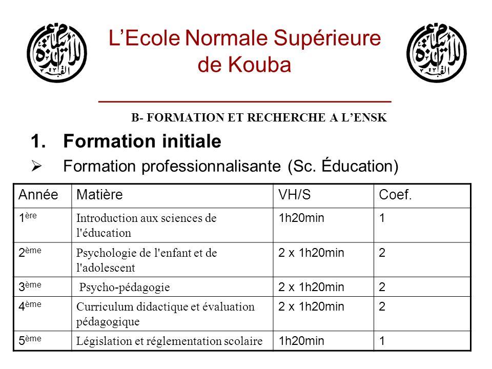 B- FORMATION ET RECHERCHE A LENSK 1.Formation initiale Formation professionnalisante (Didactique, HDSE) LEcole Normale Supérieure de Kouba ________________________