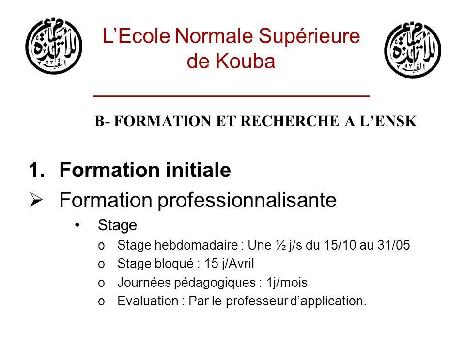 B- FORMATION ET RECHERCHE A LENSK 1.Formation initiale Formation professionnalisante Mémoire oChoix des sujets (binôme, trinôme) oEncadrement et suivi du mémoire oNature des sujets o< Mars oRemarques LEcole Normale Supérieure de Kouba ________________________