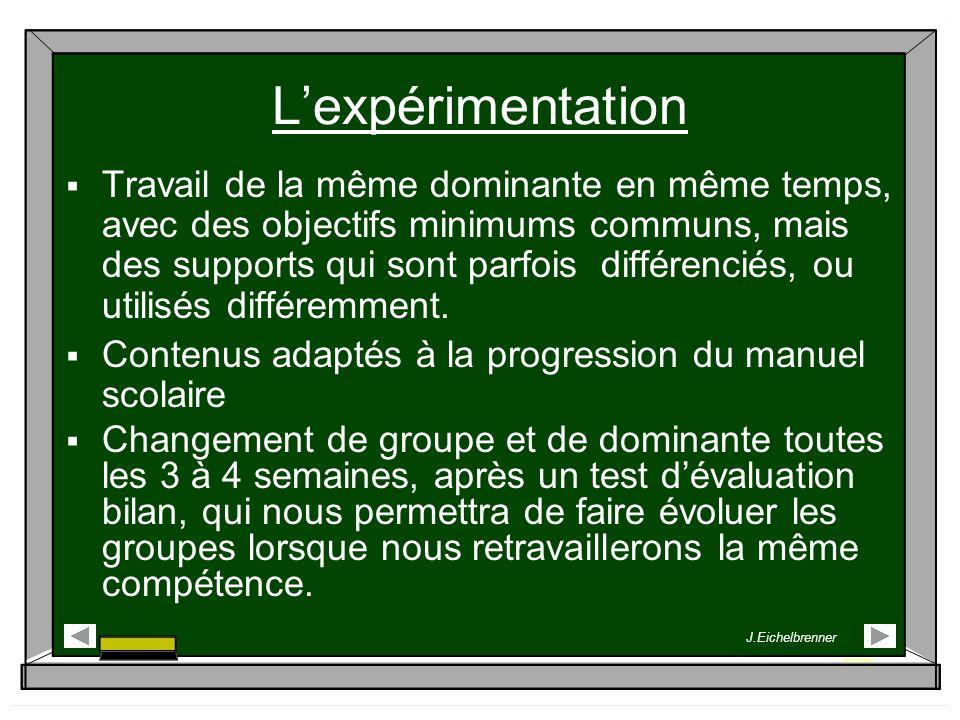 Lexpérimentation Travail de la même dominante en même temps, avec des objectifs minimums communs, mais des supports qui sont parfois différenciés, ou