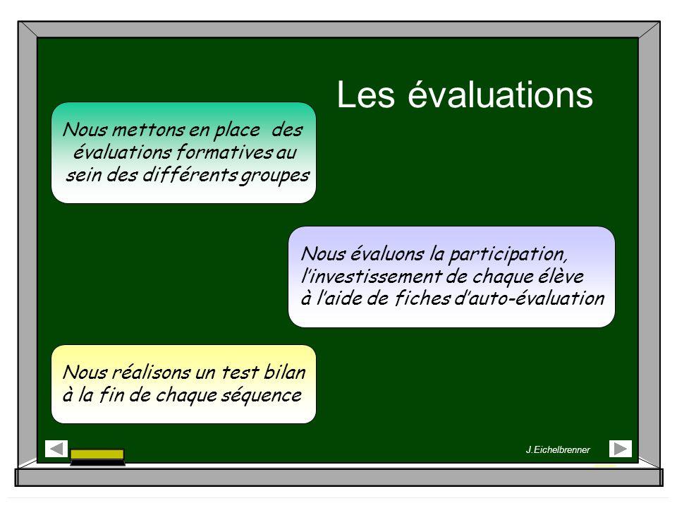 Les évaluations Nous mettons en place des évaluations formatives au sein des différents groupes Nous évaluons la participation, linvestissement de cha