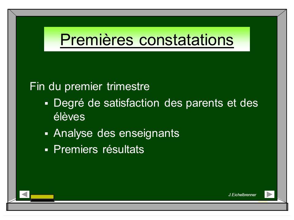 Premières constatations Fin du premier trimestre Degré de satisfaction des parents et des élèves Analyse des enseignants Premiers résultats J.Eichelbr