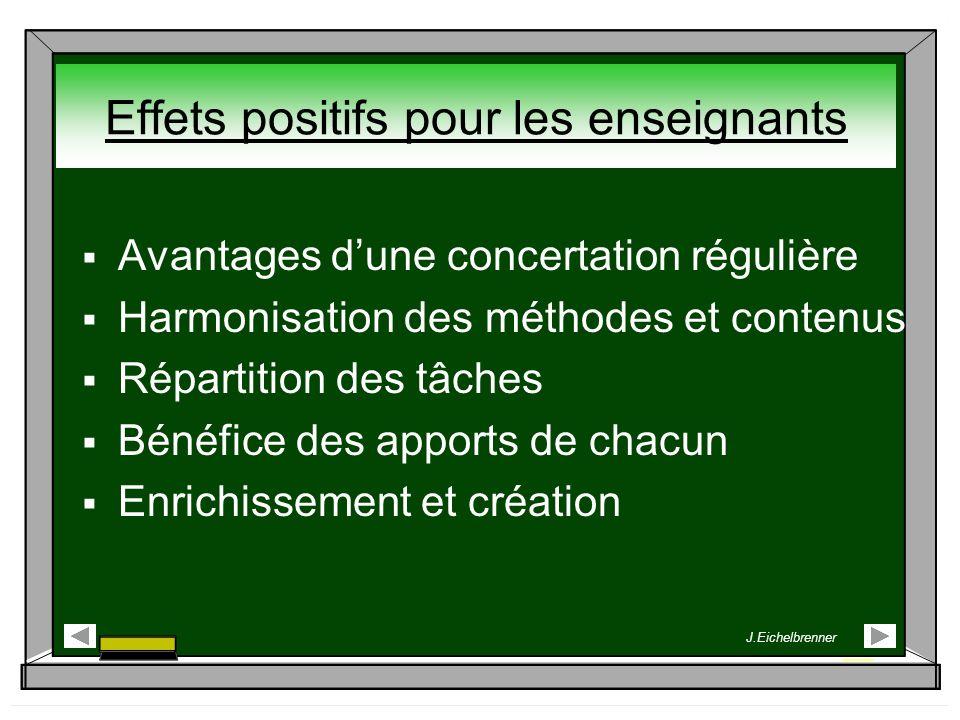 Avantages dune concertation régulière Harmonisation des méthodes et contenus Répartition des tâches Bénéfice des apports de chacun Enrichissement et c