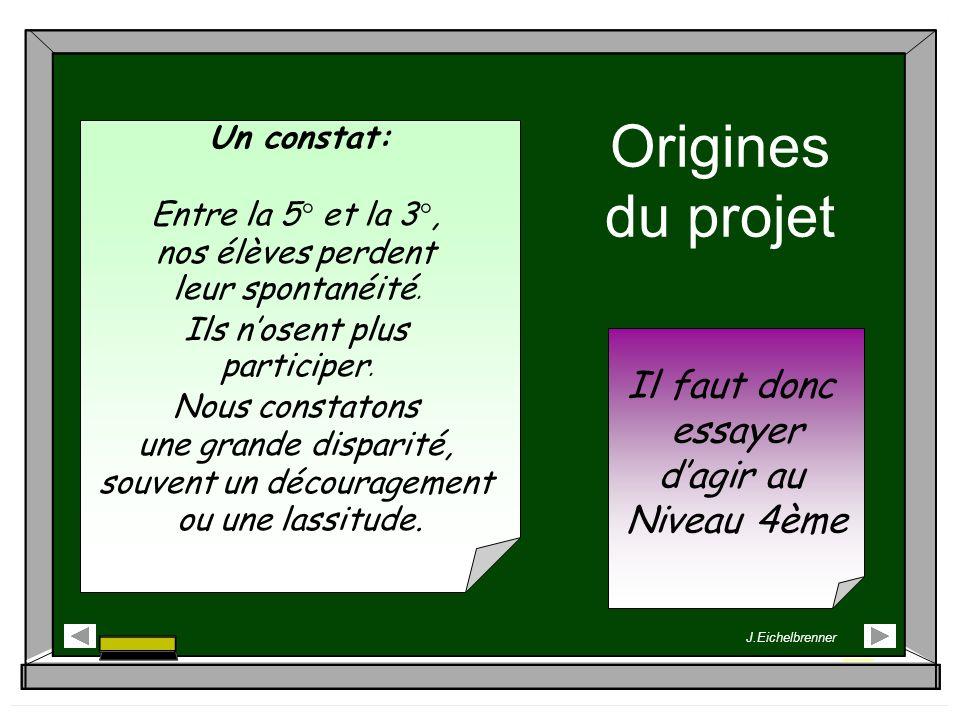 Origines du projet Un constat: Entre la 5° et la 3°, nos élèves perdent leur spontanéité. Ils nosent plus participer. Nous constatons une grande dispa