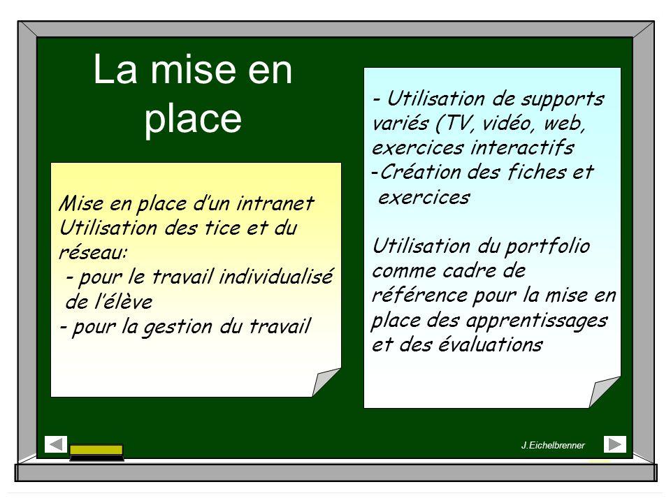 La mise en place Mise en place dun intranet Utilisation des tice et du réseau: - pour le travail individualisé de lélève - pour la gestion du travail
