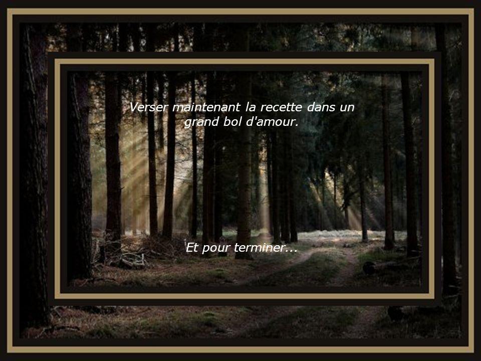 Mélanger le tout avec de généreuses portions d espoir, de fidélité, de générosité et de douceur.