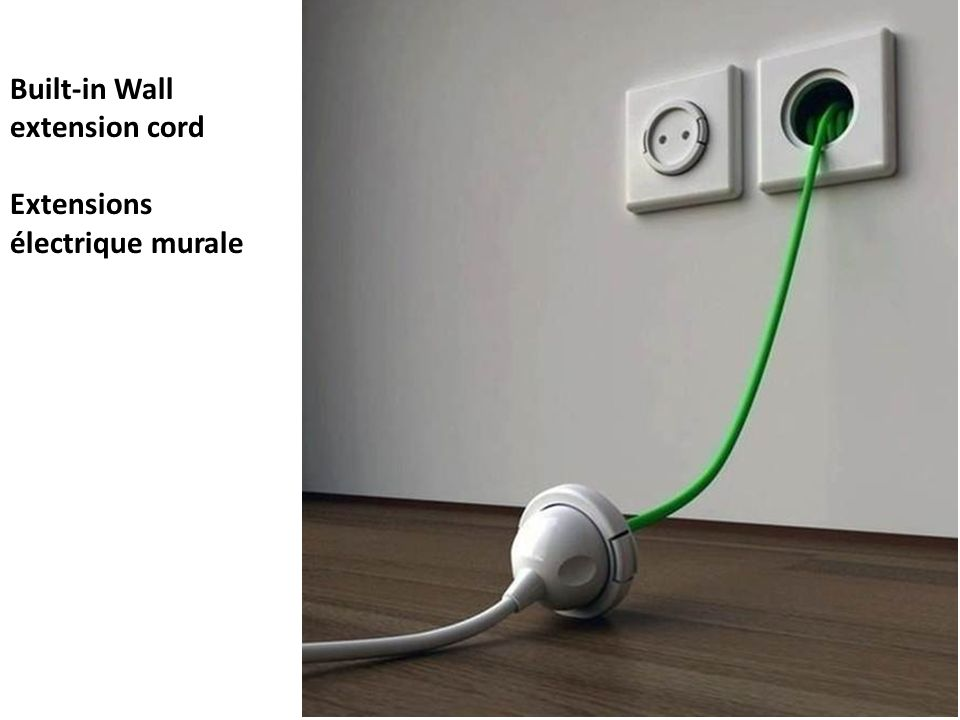 Built-in Wall extension cord Extensions électrique murale