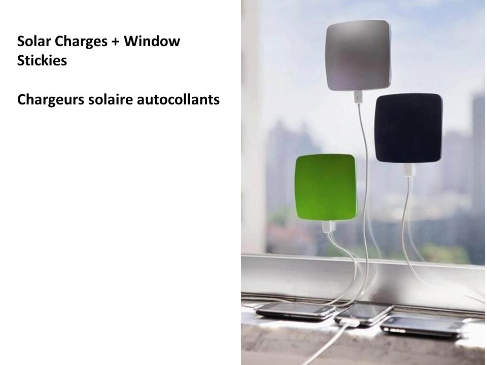 Solar Charges + Window Stickies Chargeurs solaire autocollants