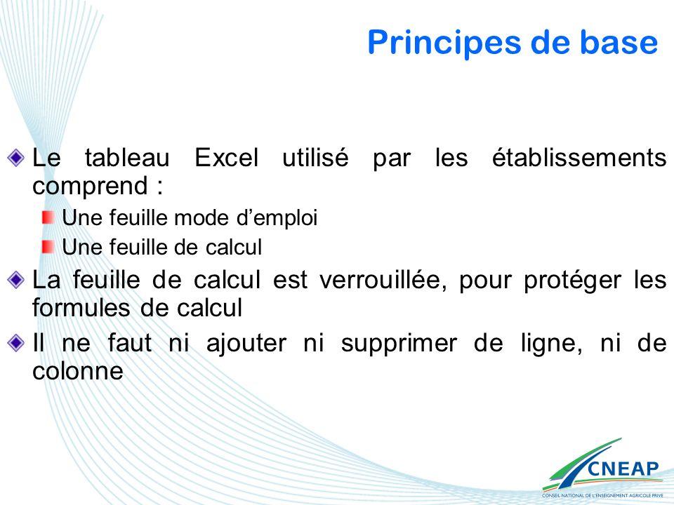Principes de base Le tableau Excel utilisé par les établissements comprend : Une feuille mode demploi Une feuille de calcul La feuille de calcul est v