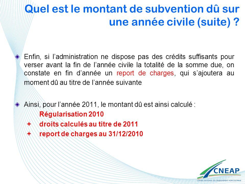 Quel est le montant de subvention dû sur une année civile (suite) ? Enfin, si ladministration ne dispose pas des crédits suffisants pour verser avant