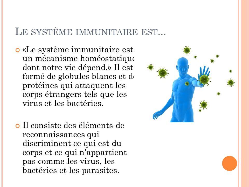 L E SYSTÈME IMMUNITAIRE EST... «Le système immunitaire est un mécanisme homéostatique dont notre vie dépend.» Il est formé de globules blancs et de pr