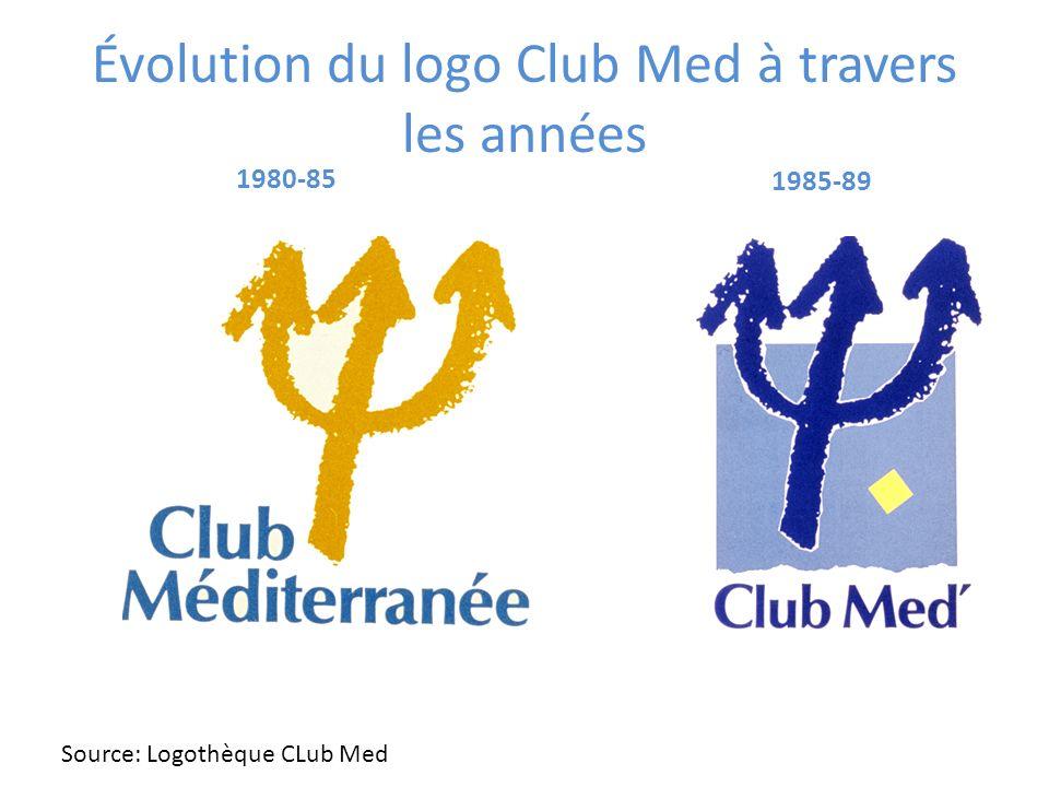 1985-89 Évolution du logo Club Med à travers les années Source: Logothèque CLub Med 1980-85