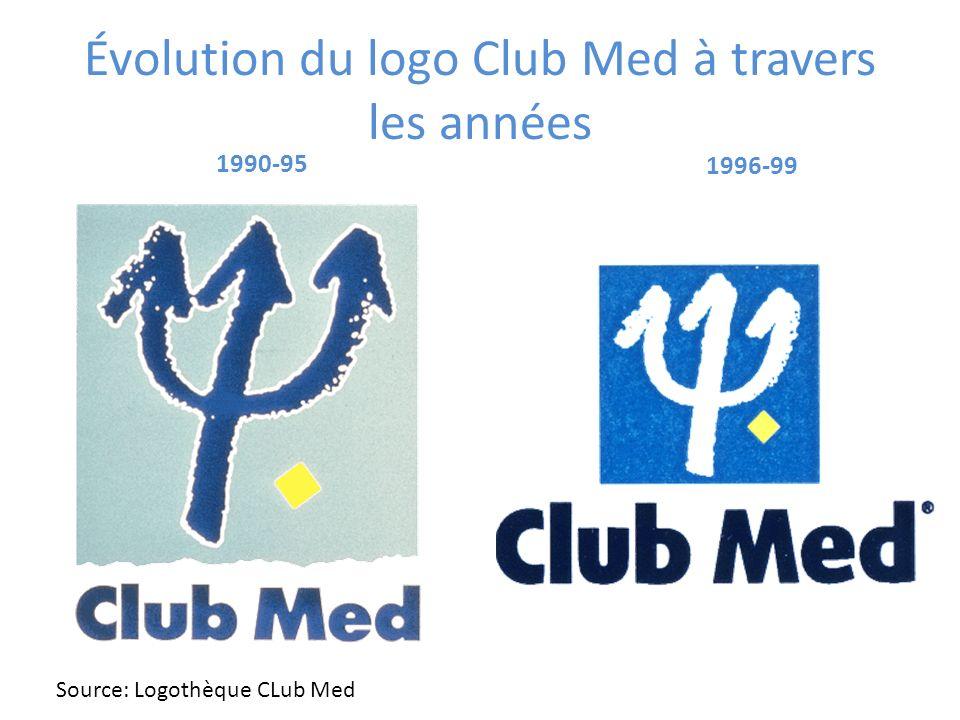 Évolution du logo Club Med à travers les années 1990-95 1996-99 Source: Logothèque CLub Med