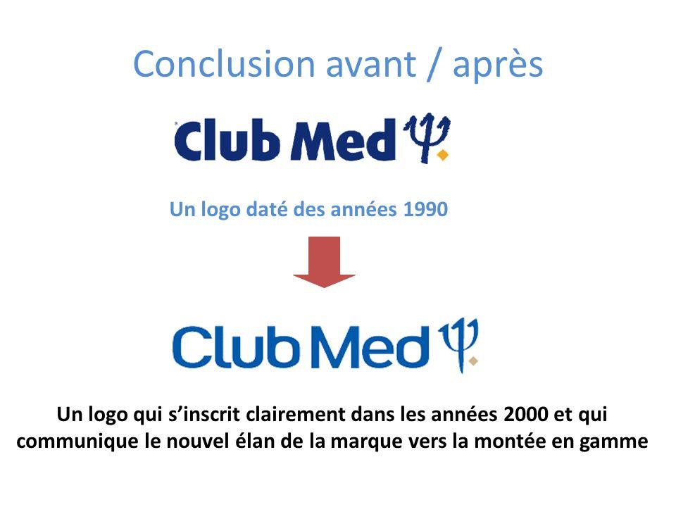 Conclusion avant / après Un logo daté des années 1990 Un logo qui sinscrit clairement dans les années 2000 et qui communique le nouvel élan de la marq