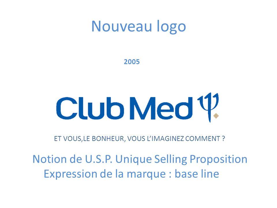 Nouveau logo 2005 Notion de U.S.P. Unique Selling Proposition Expression de la marque : base line ET VOUS,LE BONHEUR, VOUS LIMAGINEZ COMMENT ?